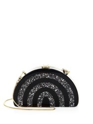 Milly Half Moon Striped Convertible Clutch Black Silver