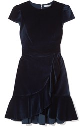 Alice Olivia Enid Ruffled Velvet Mini Dress Navy
