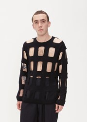 Comme Des Garcons Homme Plus 'S Worsted Wool Cutout Crew In Black Size Small 100 Wool