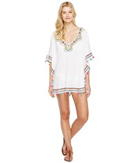 Trina Turk Paisley Embroidery Caftan Cover Up White Women's Swimwear