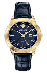 Versace Univers Leather Strap Watch 43Mm Blue Gold