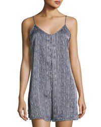 Romeo And Juliet Couture Striped Sleeveless Romper Navy White