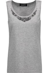 Magaschoni Embellished Silk And Cashmere Blend Top Stone