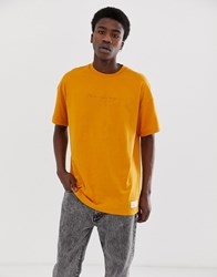 Fairplay Lansky T Shirt With Chest Emrboidery In Yellow Orange