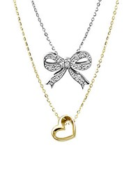 Alex Woo Sterling Silver Double Pendant Diamond Necklace Gold