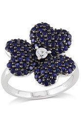 Sterling Silver Created Blue And White Sapphire Flower Cluster Ring