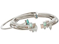 Kendra Scott Kinsley Bangle Bracelet Set Rhodium Escape Colorway Bracelet Silver