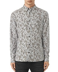Allsaints Montaud Slim Fit Button Down Shirt Light Gray