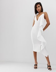 Lavish Alice Scuba V Midi Dress With Sculpted Frill Detail In White