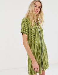The Ragged Priest Shirt Dress In Check With Zip Front Detail Yellow