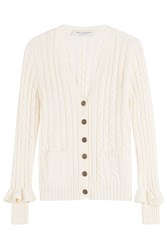 Philosophy Di Lorenzo Serafini Wool Cable Knit Cardigan With Ruffled Cuffs White