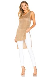Minkpink Metallic Knit Tunic Tank Metallic Gold