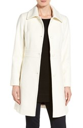 Kristen Blake Petite Women's Wool Blend Walking Coat Winter White