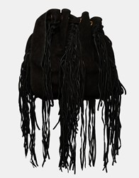Mango Fringe Drawstring Bucket Bag Black