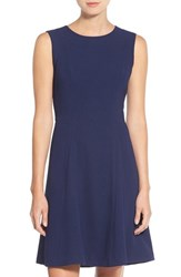 Eliza J Women's Crepe Fit And Flare Dress Navy