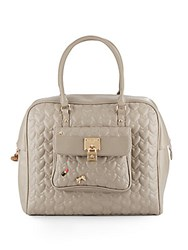 Betsey Johnson Be My Baby Quilted Faux Leather Satchel Stone