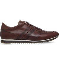 Magnanni Perforated Stripe Leather Trainers Brown