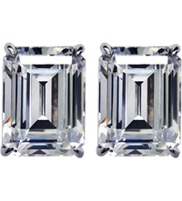 Carat Emerald 1.5Ct Solitaire Stud Earrings White