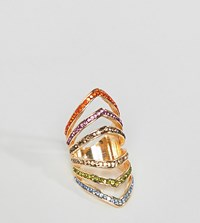 Designb London Gold Multicolour Crystal Statement Ring