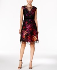 Sandra Darren Petite Velvet Flocked Fit And Flare Dress Black Red Multi
