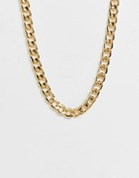 Monki Flat Chain Necklace In Gold