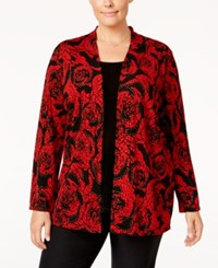 Jm Collection Plus Size Printed Layered Look Top Only At Macy's Red Glass Rose