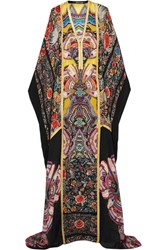 Roberto Cavalli Metallic Trimmed Printed Silk Chiffon Maxi Dress Purple
