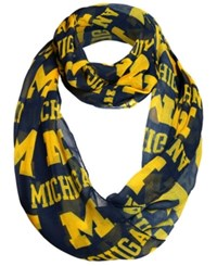 Forever Collectibles Michigan Wolverines All Over Logo Infinity Wrap Scarf Navy