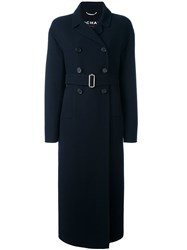 Rochas Belted Double Breasted Coat Blue