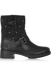 Tory Burch Chrystie Stud Embellished Felt And Textured Leather Boots