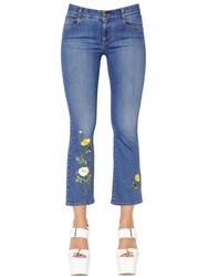 Stella Mccartney Floral Embroidered Stretch Denim Jeans