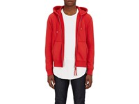Wardrobe By Thesoloist Men's Cotton French Terry Zip Front Hoodie Red