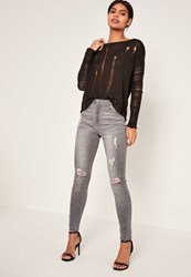 Missguided Grey Highwaisted Authentic Ripped Skinny Jeans