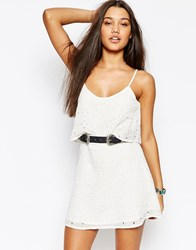 Abercrombie And Fitch Eyelet Overlay Dress With Lace Panel White Lace
