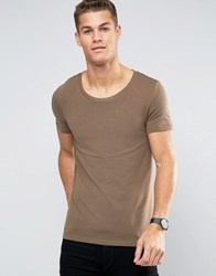 Asos Muscle T Shirt With Scoop Neck In Brown Fol