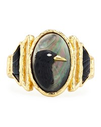 Elements Carved Raven Cameo Bracelet Alexis Bittar 14K Gold