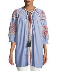Romeo And Juliet Couture Smocked Yoke Embroidered Tie Neck Tunic Blue Pattern