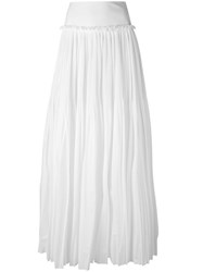 Alberta Ferretti Pleated Maxi Skirt Women Cotton Polyester 42 White