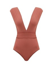 Haight Roge Belted V Neck Stretch Jersey Swimsuit Brown