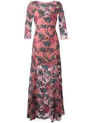 For Love And Lemons Floral Embroidery Maxi Dress Pink Purple