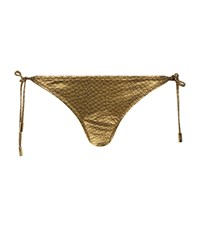 Lazul Tie Side Bikini Bottoms Metallic