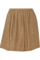 Maje Pleated Linen Canvas Mini Skirt Brown