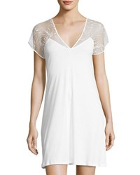 Hanro Ana Cotton Lace Yoke Nightgown White