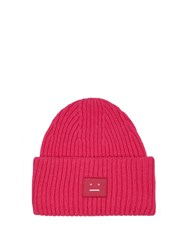 Acne Studios Pansy Ribbed Knit Wool Beanie Hat Pink
