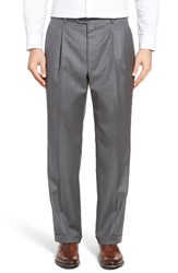 Hickey Freeman Men's Beacon Pleated Solid Wool Trousers Grey