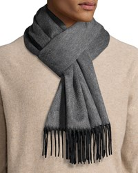 Begg And Co Reversible Cashmere Scarf W Fringe Charcoal Grey