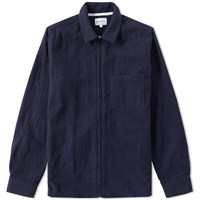 Norse Projects Jens Zip Cotton Wool Shirt Jacket Blue