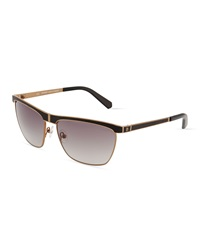Balmain Wire Frame Sunglasses Black Leather