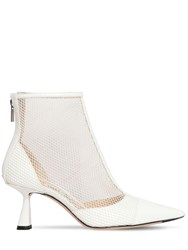 Jimmy Choo 65Mm Kix Mesh And Patent Leather Boots Off White