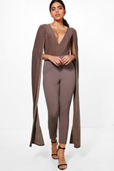 Boohoo Cape Sleeve Plunge Neck Jumpsuit Mocha
